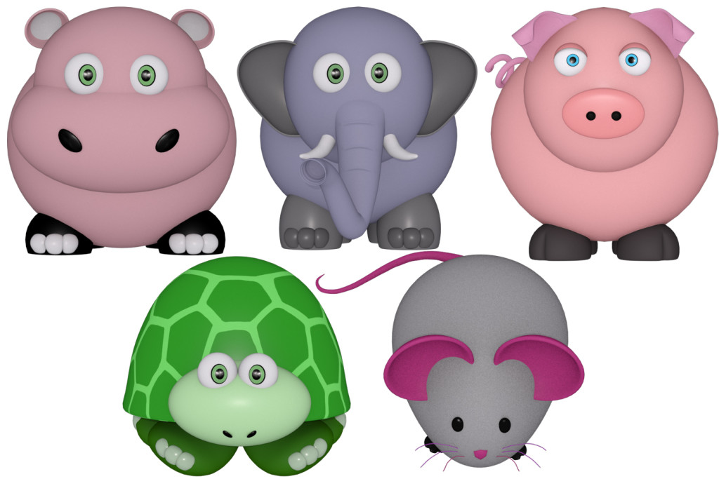 hippo, elephant, turtle and mouse 3d renders