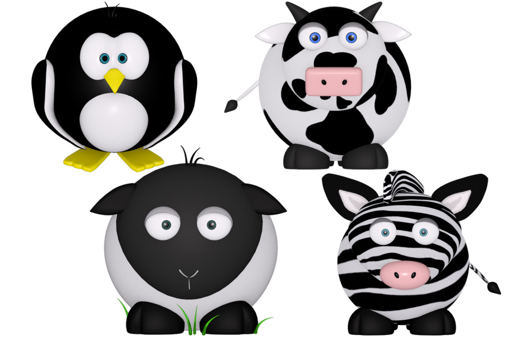 penguin, cow, sheep and zebra 3d renders