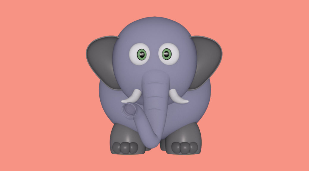 3d rendered image of an cartoon elephant