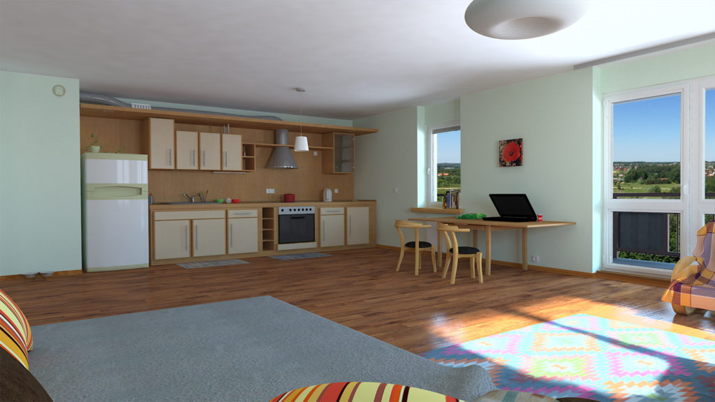 3d resndered image of kitchen