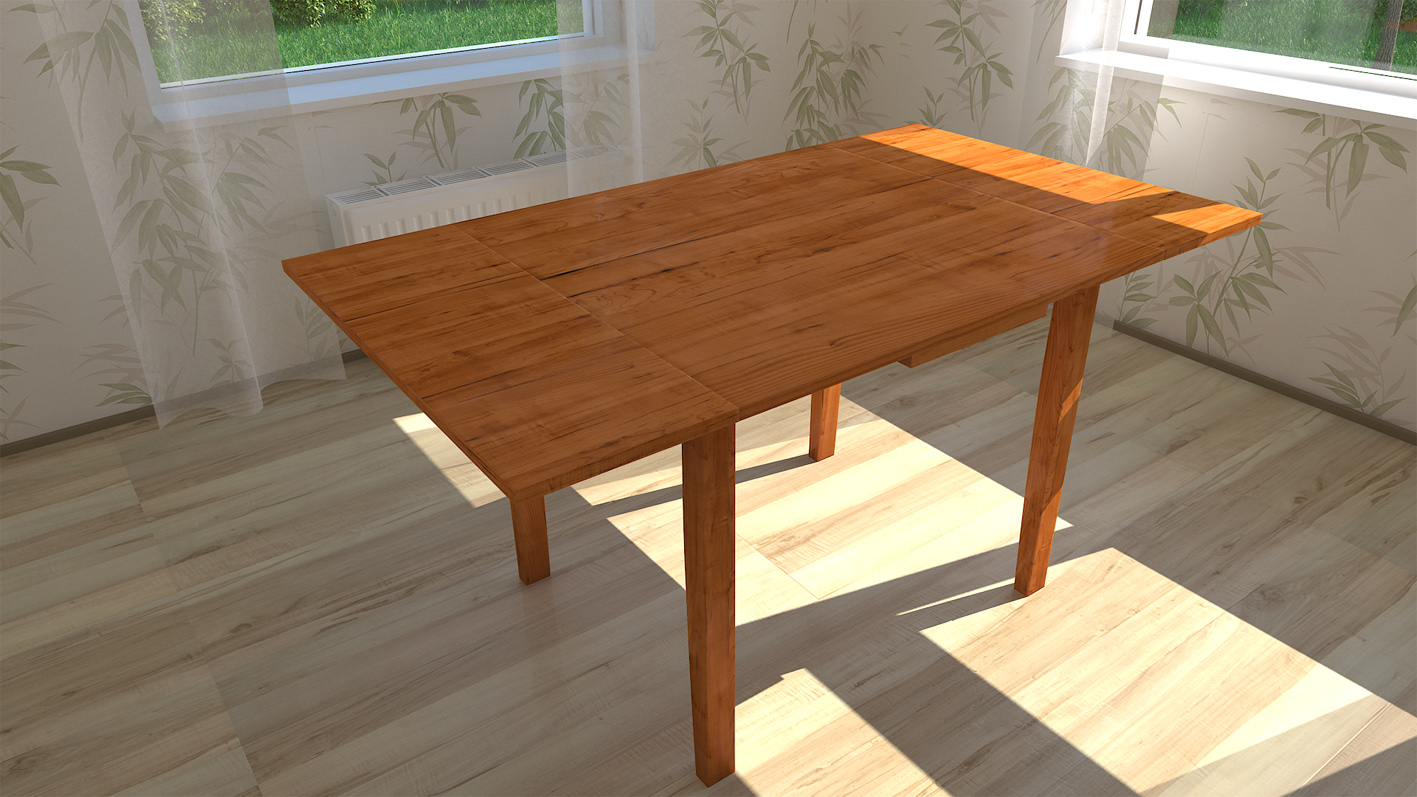 3d rendered table image with realistic vray wood material