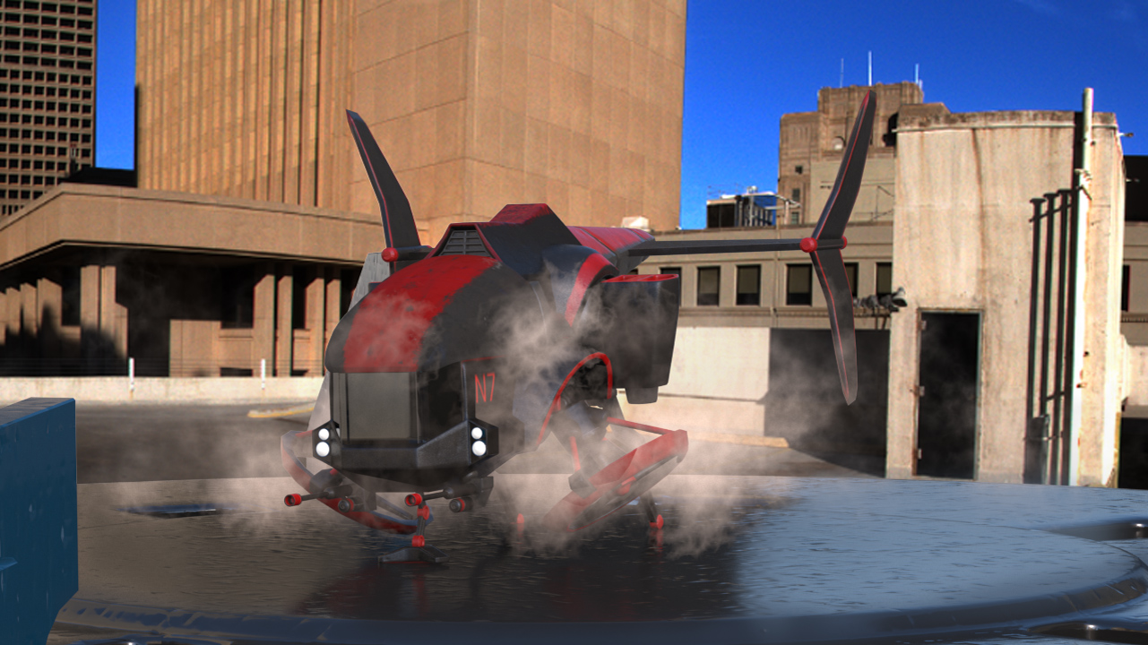 3d rendered dropship on landing pad