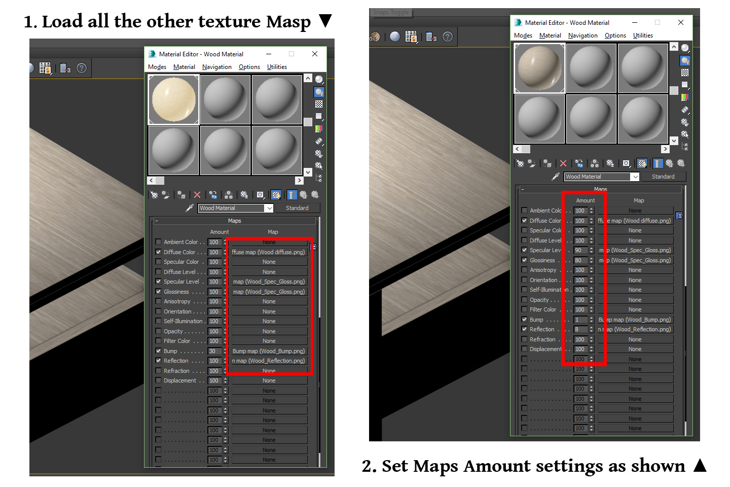 schema on how to set maps amount parameters, standard wood material