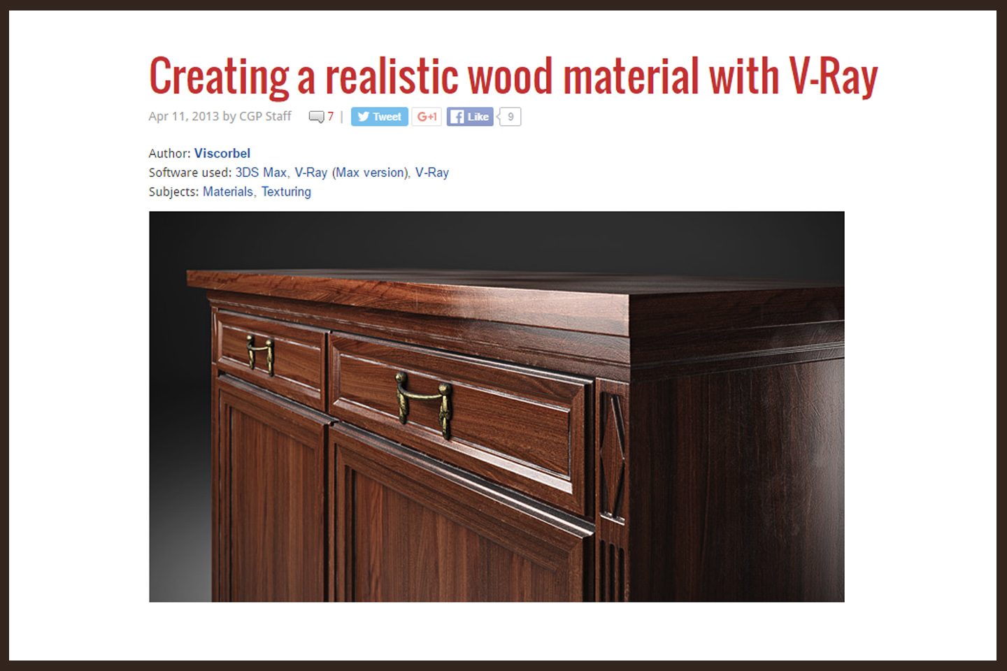 realistic wood material made with vray