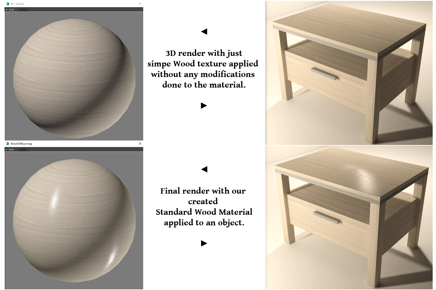 comparison of images with standard wood material and without