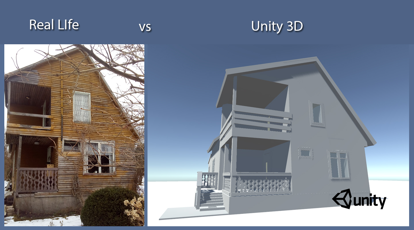 3D house real time render inside Unity game engine